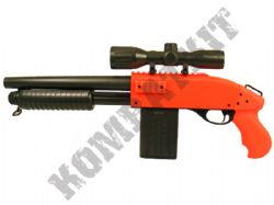 Bison 601 Pump Action UTG Clone Airsoft Gun Black and Orange